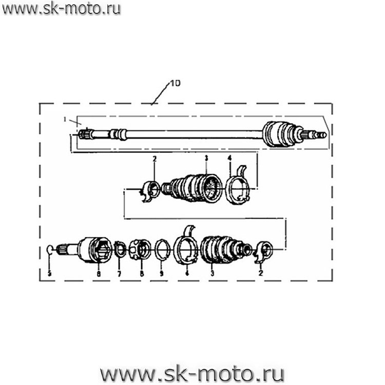 Схемы узлов и агрегатов ATV500-D.
