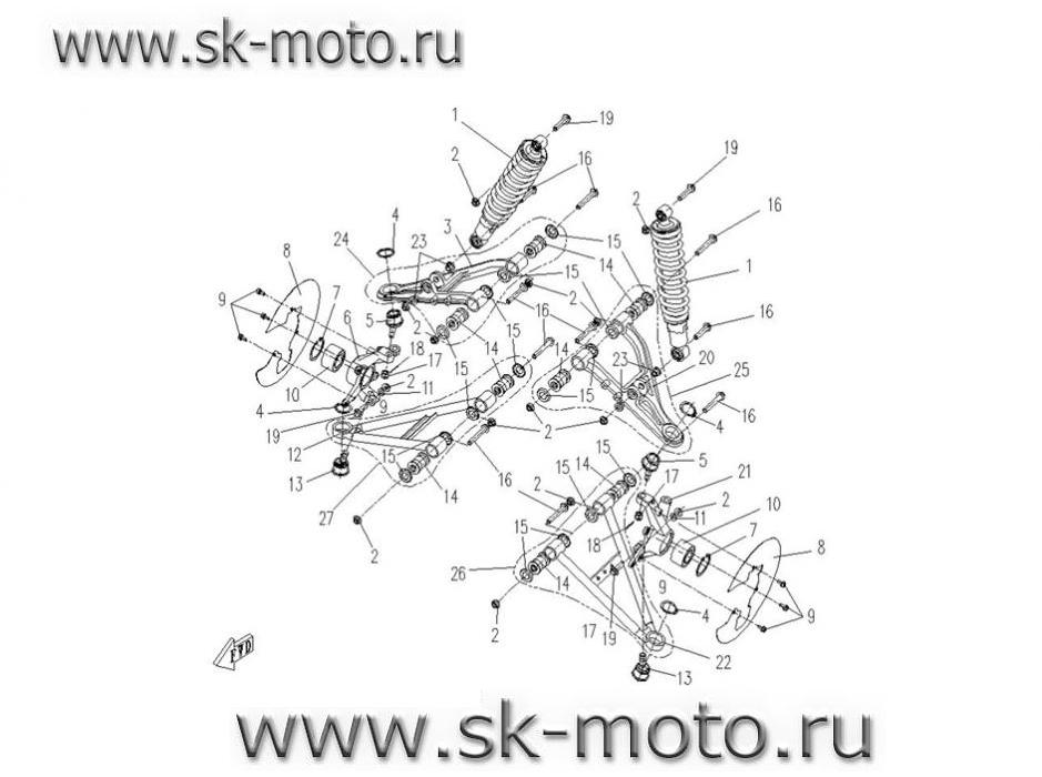 Схема F19 ПОДВЕСКА ПЕРЕД