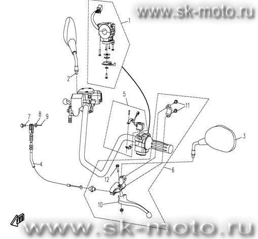 Схема F03 Руль 1 CFMOTO 500