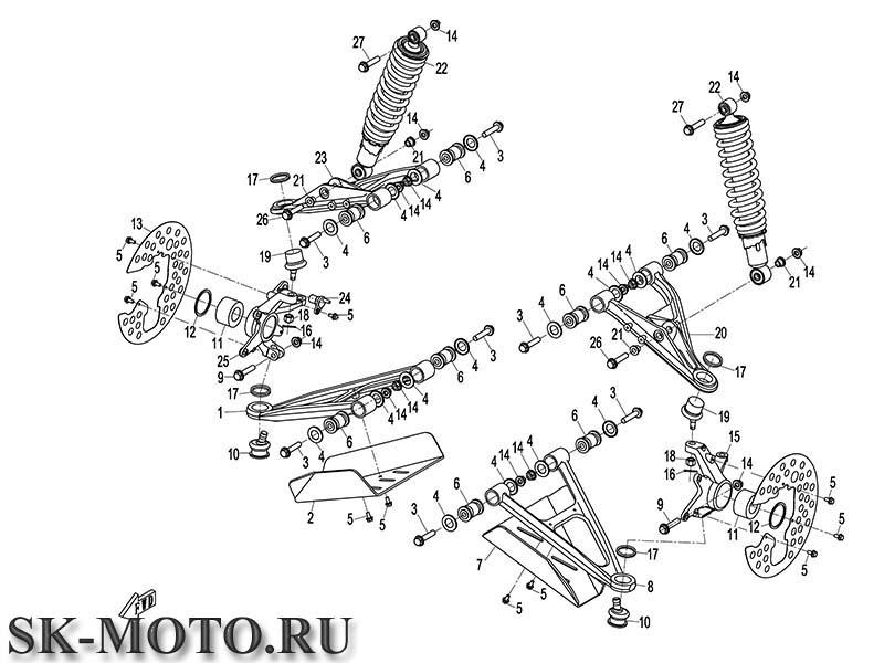 Схема F05 подвеска передняя X8