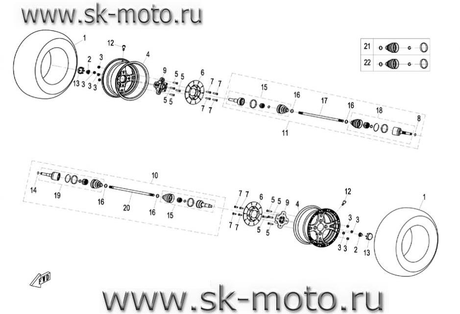 Схема F07 передние колеса,