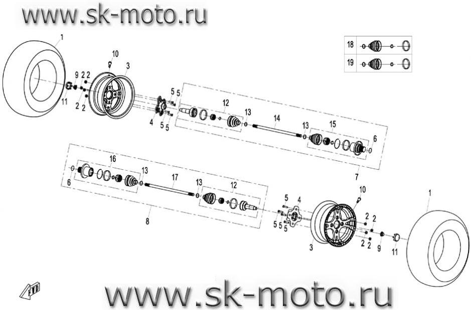Схема F11 задние колеса,